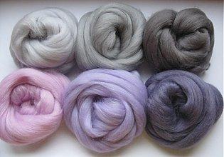 Textil - Merino vlna na plstenie - fialovosivá 60 g - 1371119