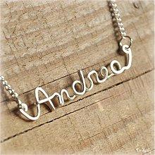 Náhrdelníky - Náhrdelník s menom z postriebreného drôtu: 6-8 písmen (Andrea) - 1386056
