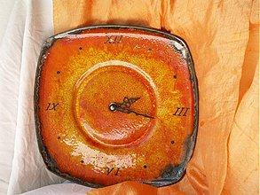 Hodiny - Nástenné hodiny, oranžové, keramické
