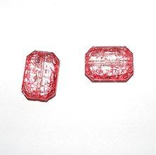 Korálky - 0029 Plastové brúsené kvádre - červené, 23x17 mm, 1 ks - 139428