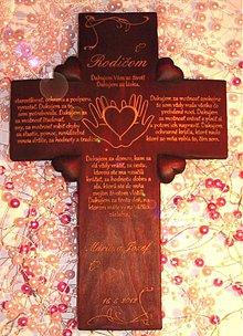 Dekorácie - kríž na poďakovanie rodičom - 1397507