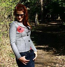 Kabáty - !!!ZĽAVA!!! z 80eur! Vlnené sako s autorskou aplikáciou - 1400094