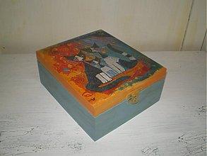 Krabičky - Ćajová skrinka 4 priečinky mačiatka - 1405439