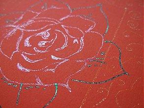Papiernictvo - Červená s ružou a zlatými ornamentmi - 1419263
