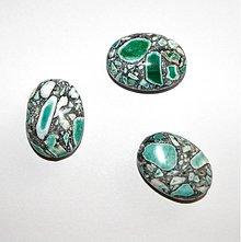 Minerály - 0042 Farbený mramor - ovál, zelený, 18x25 mm, 1 ks - 142203
