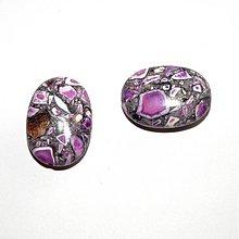 Minerály - 0045 Farbený mramor - ovál, fialový, 18x25 mm, 1 ks - 142210