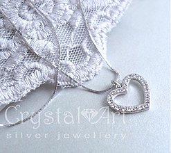 Náhrdelníky - Vykladané srdce na retiazke - 1429130