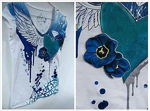 Tričká - Maľované tričko krídlaté srdce modré - 1438042