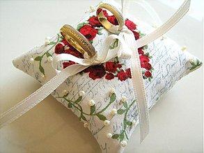Prstene - Romantický vankúšik pod obrúčky - 1444352