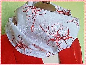 Šály - červený kvet - 1449925