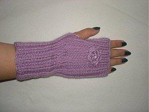 Rukavice - Ručne pletené rukavice - fialkové - 1450789