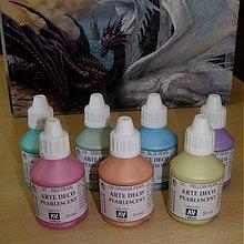 Farby-laky - Štartovací balíček - 7 ks akrylové umelecké farby perleťové - 1452776