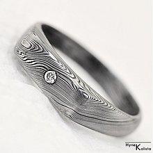 Prstene - Prolili - damasteel zásnubný prsteň s broušeným diamantom 1,5 mm - 1464172