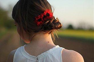 Ozdoby do vlasov - Hrebienok s červenými makmi - 1470517