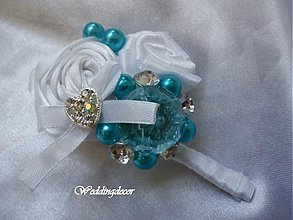 Pierka - Svadobné pierko (turquoise-white) - 1473561