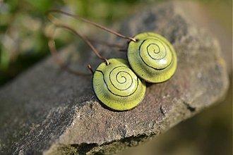 Náušnice - zelené spirálky - 1473761