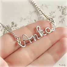 Náhrdelníky - Náhrdelník s menom z postriebreného drôtu - do 5 písmen (Anka) - 1480259
