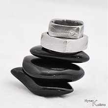 Prstene - Prsten damasteel - Kulatýčtvereček + diamant 1,5mm - 1480719