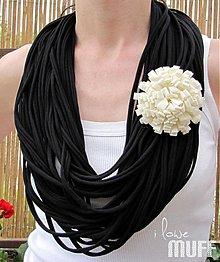 Šály - špagetky čierne - 1493430