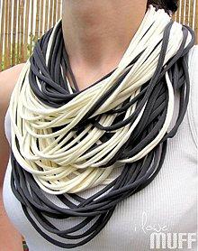 Šály - šedo-smotanové špagetky - 1493535