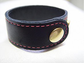 Náramky - Kožený, Čierny s rúžovou niťkou  - 1501407