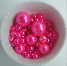 Korálky - Vosk.perly MIX4-12mm (ružová ostrá) - 1503646