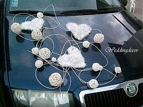 Nezaradené - Výzdoba na auto Hearts (silver-white) - 1505463