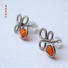 Náušnice - Pomerančové bodové čtyřlístky - 1516068