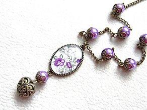 Náhrdelníky - fialové kvety - 1516220