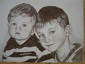 Kresby - Maťko a Kubko :-) - portrét A3 - 1518046