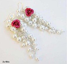 Náušnice - Cyklamenové ružičky - 1552826