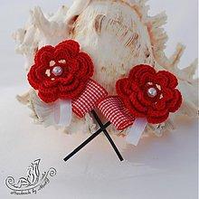 Ozdoby do vlasov - Červené sponky - 1554349