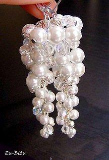 Náušnice - Svadobné náušnice Biele strapce - 1555847