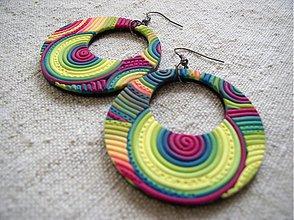 Náušnice - veľké kruhy limetkové - 1571815