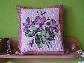 Úžitkový textil - vankúš  (fialky) - 1586299