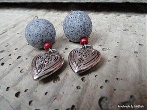 Náušnice - Srdce z kameňa - 1593437