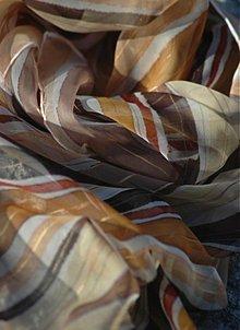 Šály - Krémovo - čokoládová šála z hedvábného šifonu - 1600882