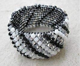 Náramky - Caprichos náramok (Bielo čierny elegán) - 1623214