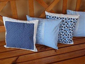 Úžitkový textil - Vankúšiky modré - rozmer 35x35 - 1624556