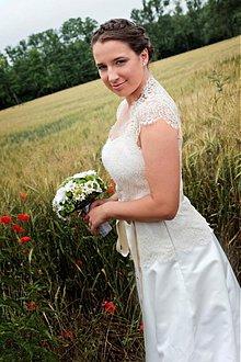 Šaty - natur svadobné šatky Veve /bielo-krémové - 1626116
