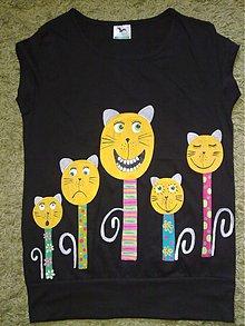 Tričká - mačacia rodinka na čiernom - 1629463