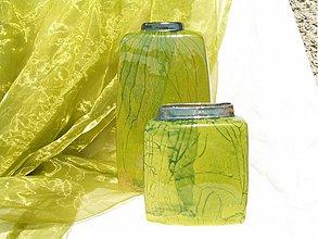 """Dekorácie - Vázy zelené vysoké hranaté """"dve"""" . - 1639226"""
