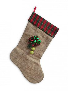 Dekorácie - Vianoce/Mikuláš - čižmička z vrecoviny s dekoráciou, podšívaná a s uškom na zavesenie - 1640699
