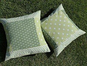 Úžitkový textil - Vankúšiky zelené - kombinácia - 1658966