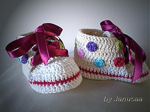 Topánočky - Háčkované tenisky ... veselé bodky ... - 1683130