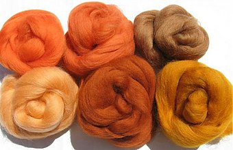 Textil - Merino vlna na plstenie - škorica 60 g - 1683604
