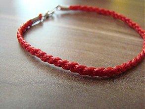 Náramky - Jednoduchý pletený náramok červený proti urieknutiu - 1690483