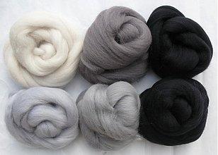 Textil - Merino vlna na plstenie sada sivo čierna - 1691085