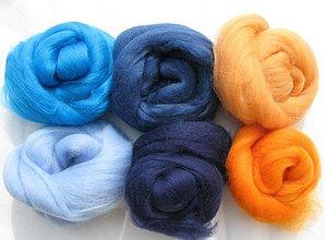 Textil - Merino vlna na plstenie - modrooranž 60 g - 1691414
