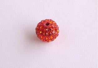 Korálky - Shamballa korálky oranžové 10 mm / 1ks - 1703478